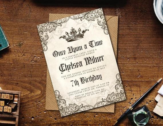 medieval invitation once upon a time birthday printable