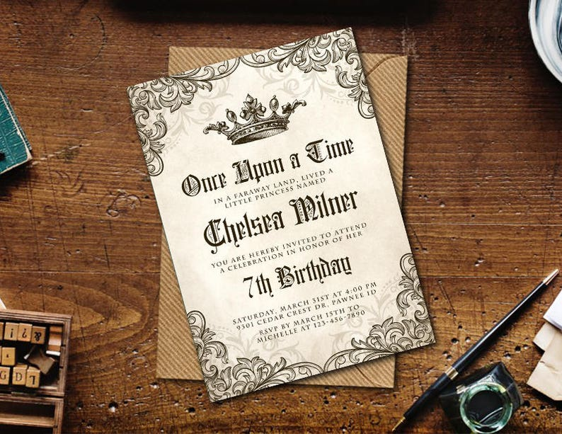 Medieval Invitation Once Upon a Time Birthday Printable image 0