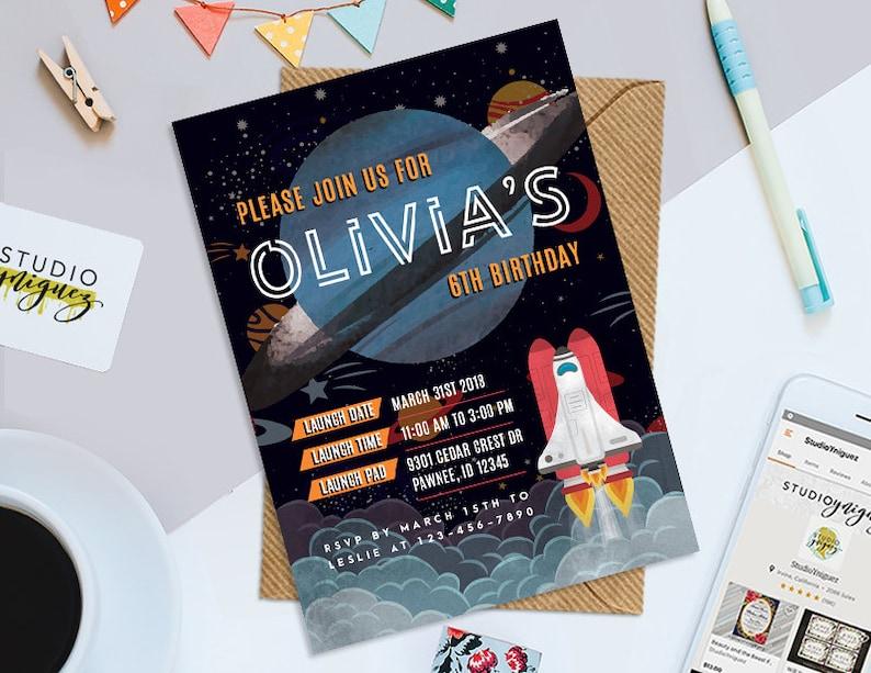 Blast Off Birthday Invitation Custom Printable Rocket Ship image 0