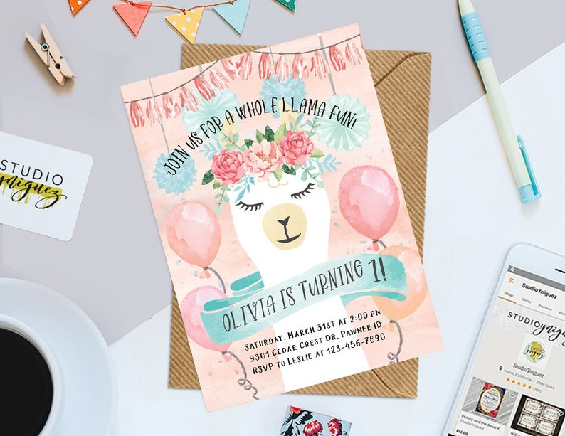 Llama Watercolor Birthday Invitation Design Llama Printable image 0