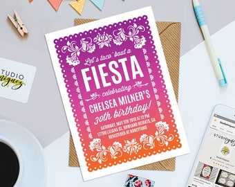 """Papel Picado Birthday Party Printable Invitation, Dia De Los Muertos Printable 5"""" x 7"""" Party Invitation, Fiesta Theme Digital Invitation"""