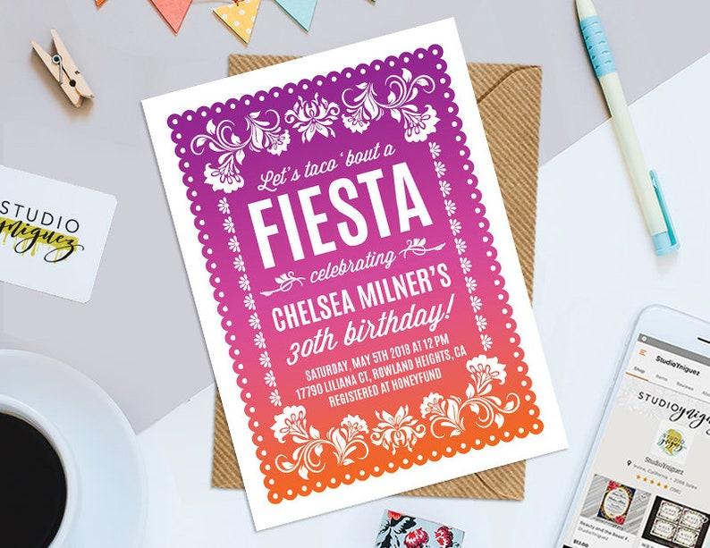 Papel Picado Birthday Party Printable Invitation Dia De Los image 0