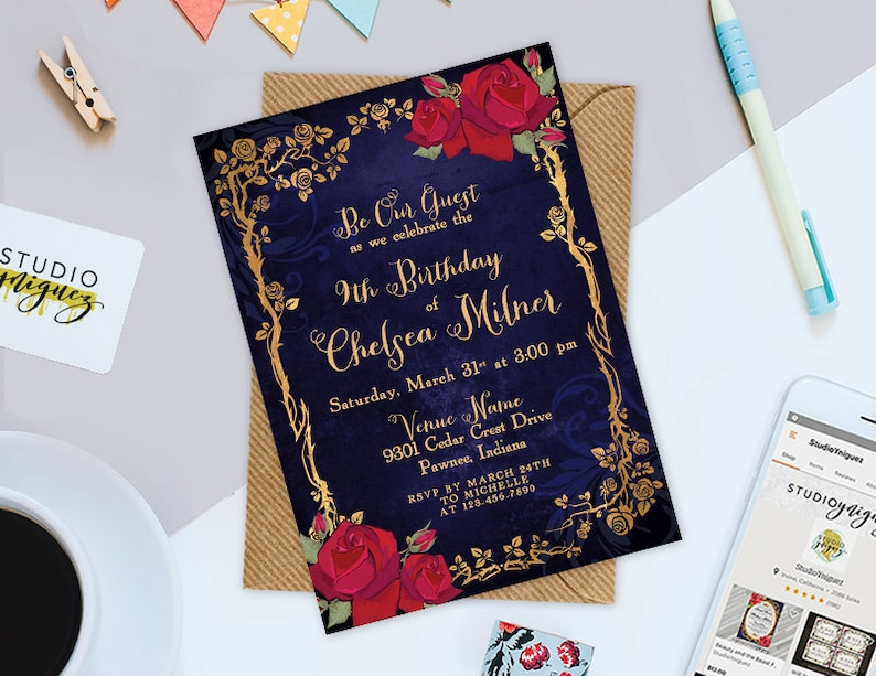 Beauty and the Beast Fairy Tale Birthday Printable 5 x image 0
