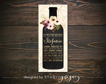 "Wine Bottle Bridal Shower Printable 3.5"" x 8.5"" Invitation, Modern Bridal Shower Invitation, Toast to the Bride Bridal Shower Invitation"