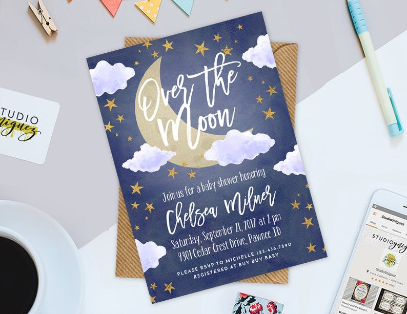 Over the Moon Baby Shower 5 x 7 Invitation Moon image 0