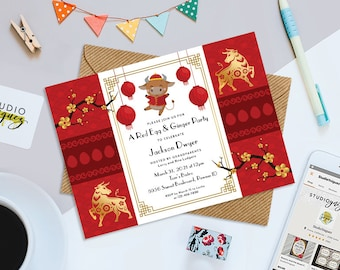 """Red Egg Printable 7"""" x 5"""" Invitation, Red Egg and Ginger Printable Invitation, Chinese New Years Party Invitation, Year of the Ox"""