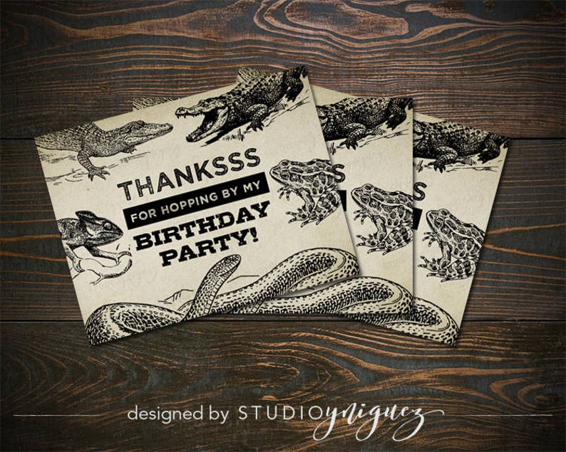 Reptile Printable Thank You Cards Printable 5.5 x image 0