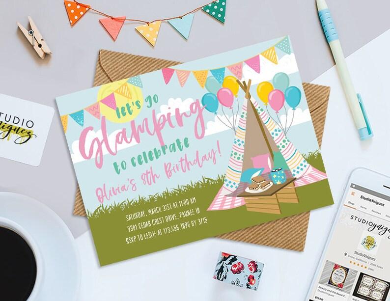 Glamping Printable 7 x 5 Birthday Invitation image 0
