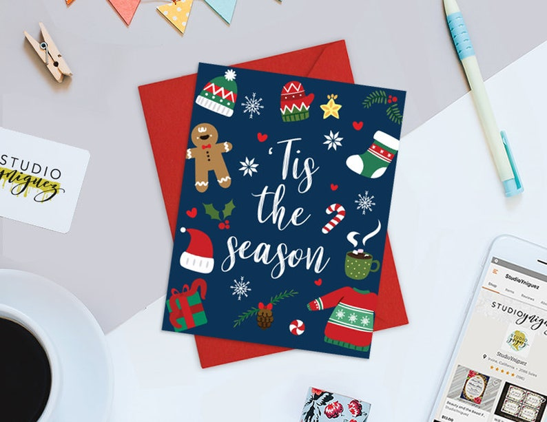 Printable Christmas Cards 'Tis The Season Printable Card image 0