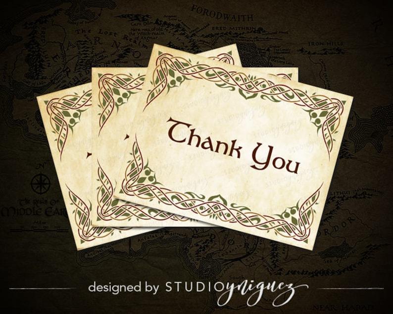 Renfaire Printable Thank You Cards Medieval Fantasy Printable image 0