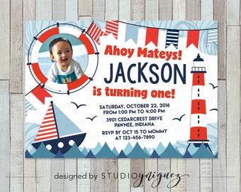 "Sailor Nautical Birthday Printable Invitation, Ahoy Mateys! Nautical Themed Printable 7"" x 5"" Birthday Invitation"