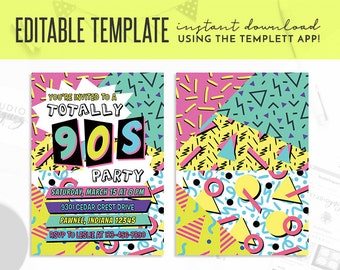 "90s Theme Birthday Party Editable Invitation, 90s Party Editable Templett 5"" x 7"" Invite, Nineties Theme Editable Template Invitation"