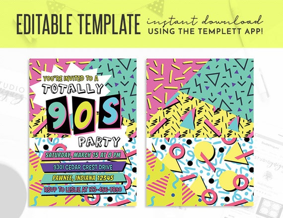 90s theme birthday party editable invitation 90s party editable templett 5 x 7 invite nineties theme editable template invitation
