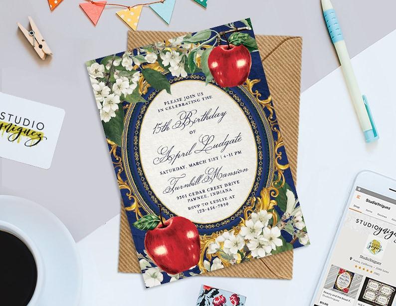 Snow White Birthday Printable Invitation 5 x 7 image 0