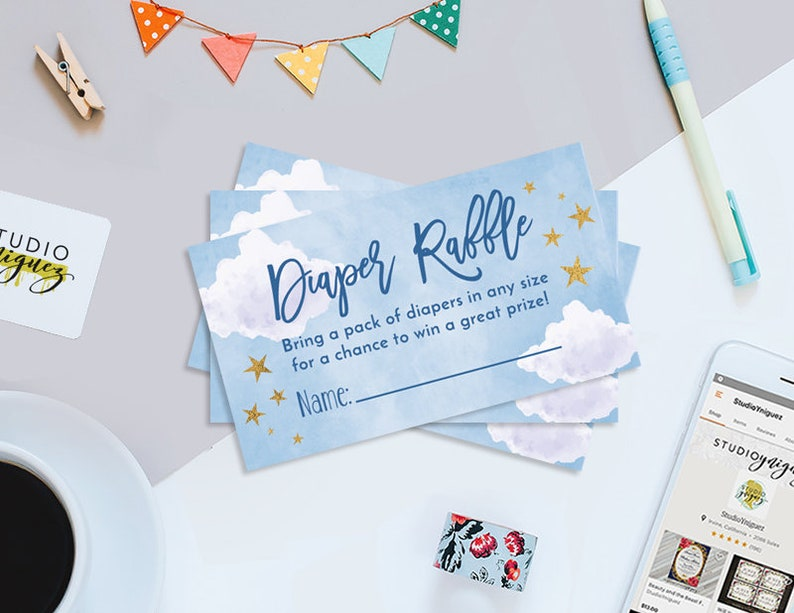 Starry Sky Printable Diaper Raffle Tickets Moon and Stars image 0