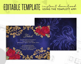 """Beauty and the Beast Gold Frame And Roses Fairy Tale Printable 5.5"""" x 4.25"""" Editable Template Details Card, Templett Details Card, Printable"""
