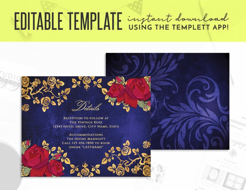 Beauty and the Beast Gold Frame And Roses Fairy Tale Printable image 0