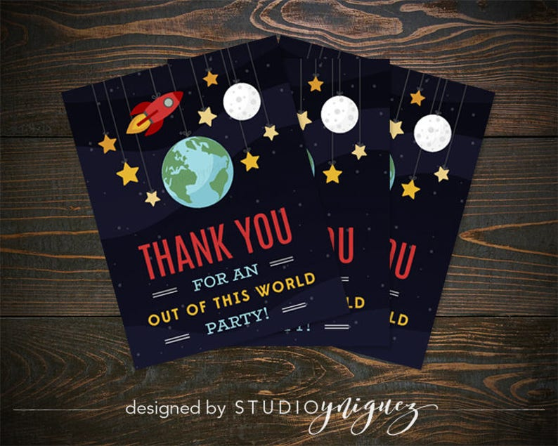 Outer Space Printable Thank You Cards Out of this World Thank image 0