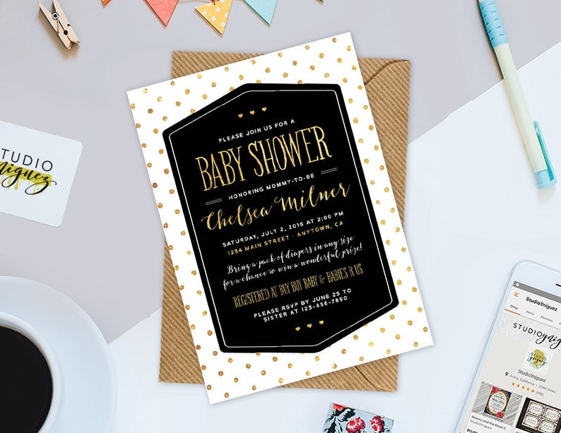 Black White Gold Polka Dot Printable Baby Shower Invitation image 0