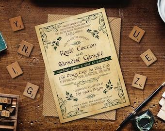 "Woodland Fantasy Wedding Printable Invitation, Custom 5"" x 7"" Printable Fantasy Theme Wedding Invitation"