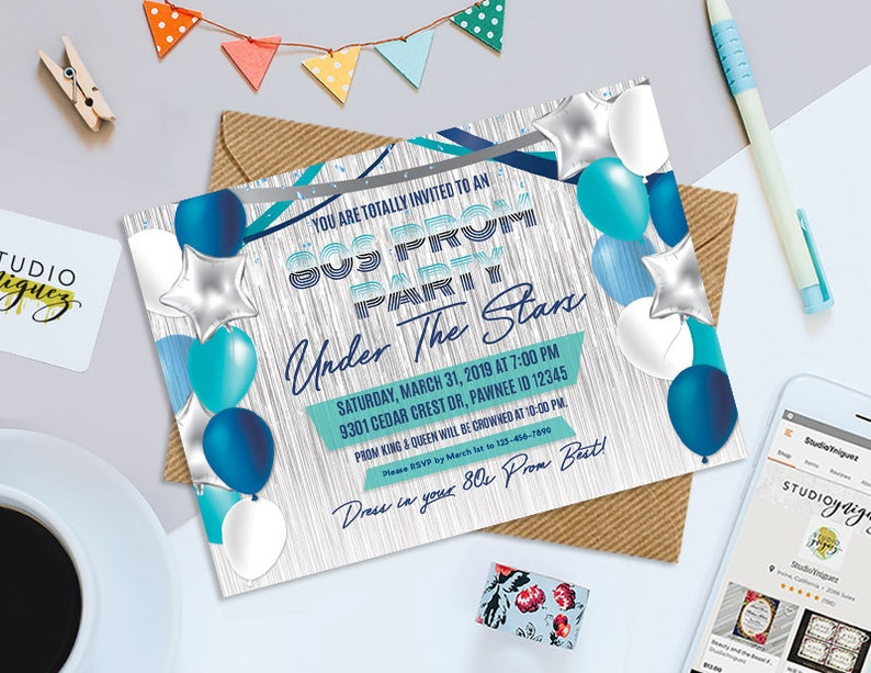 80s Theme Prom Party Printable Invitation Printable 7 x image 0