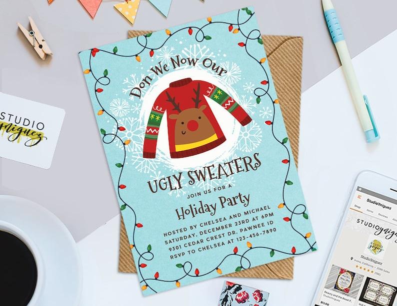 Christmas Party Printable 5 x 7 Invitation Ugly image 0