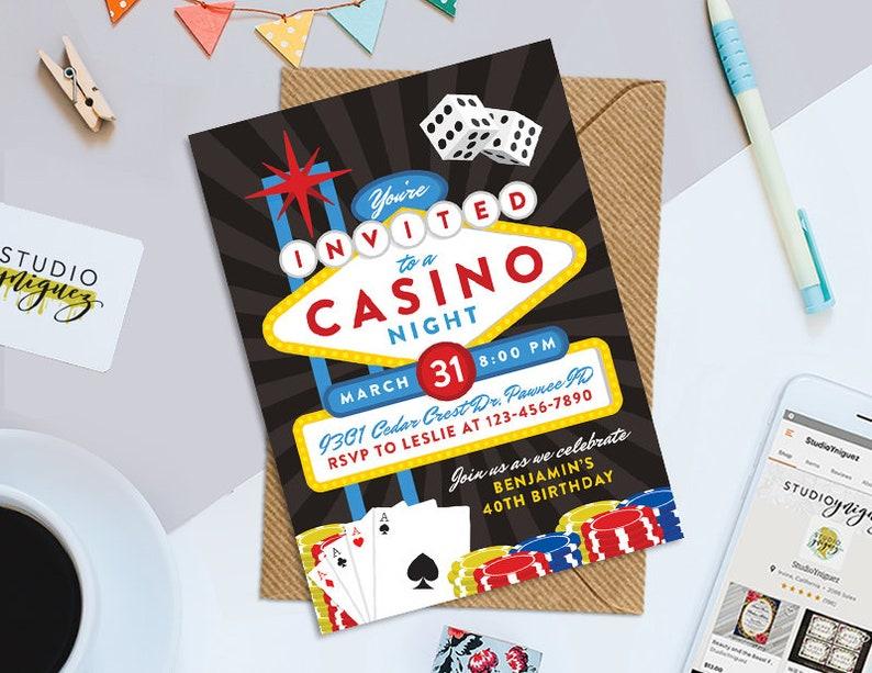 Casino Night Printable  5 x 7 Birthday Invitation image 0