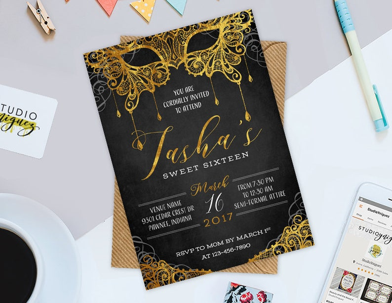 Masquerade Ball Birthday Printable 5 x 7 image 0