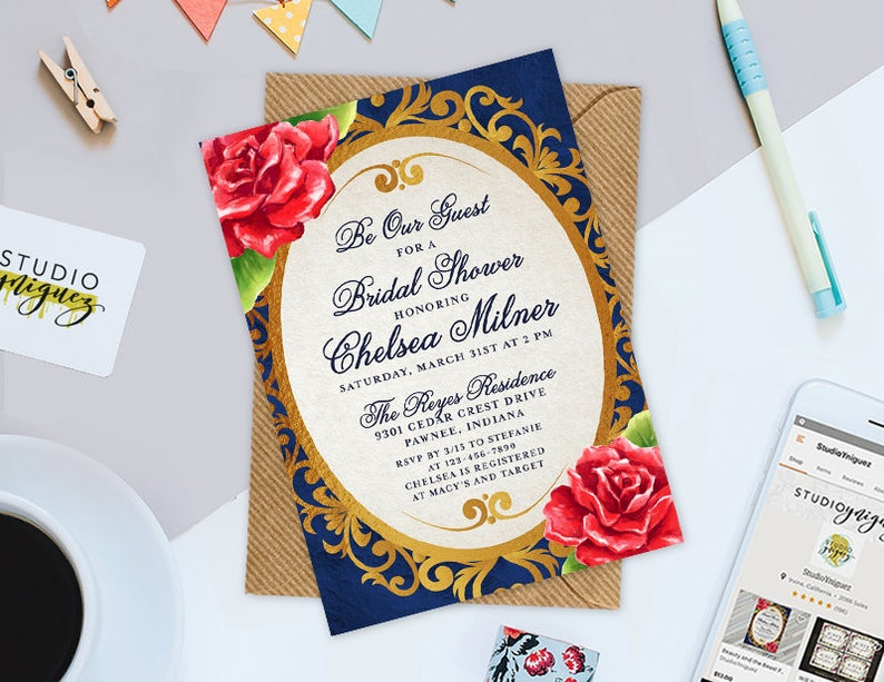 7832c0b8eb4 Beauty and the Beast Fairy Tale Bridal Shower Printable