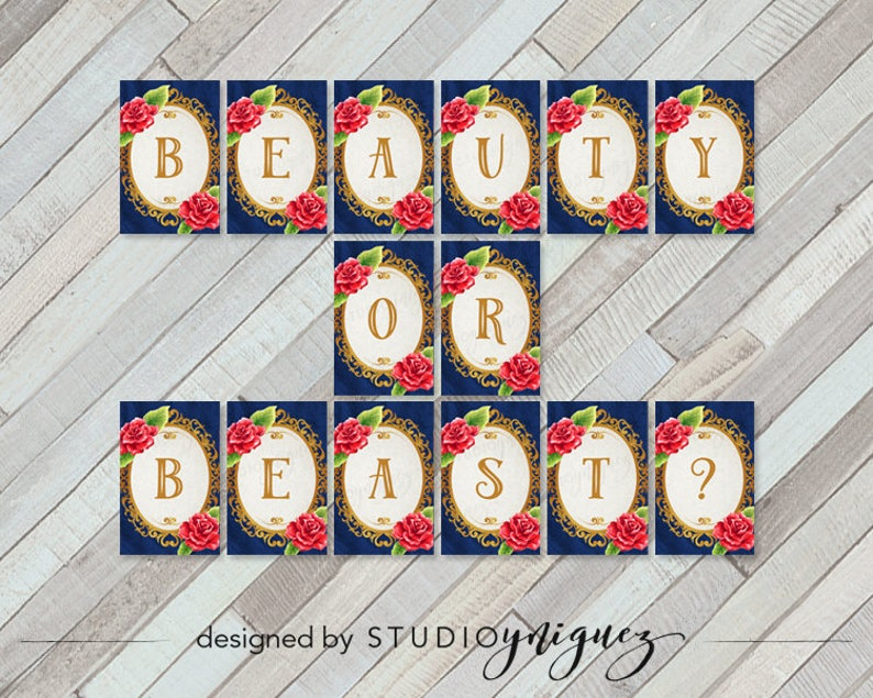 Beauty and the Beast Printable Baby Shower Banner 5.5 x image 0