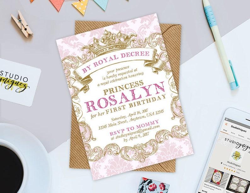 Pink Princess Birthday Printable Invitation Custom Princess image 0