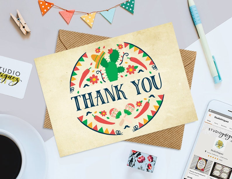 Taco 'Bout a Fiesta Printable Thank You Card Taco image 0