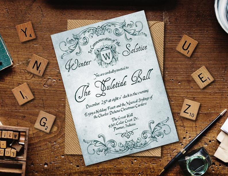 Yule Tide Ball Printable Invitation Winter Ball Printable image 0