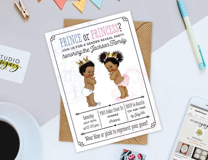 Prince or Princess Gender Reveal Printable Invitation Custom image 0