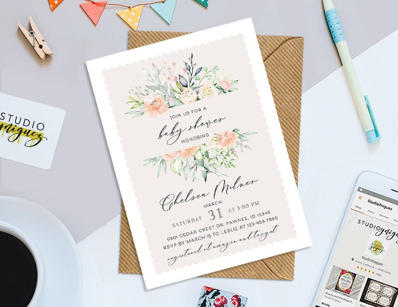 Floral Baby Shower Printable 5 x 7 Invitation image 0