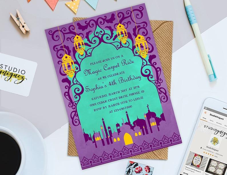 Aladdin Birthday Printable 5 x 7 Invitation Magic image 0