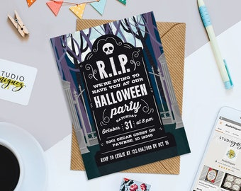 """Halloween Party Printable 5"""" x 7"""" Invitation, Tombstone Invitation, Graveyard Invitation, Halloween Party Invitation, Digital File Only"""