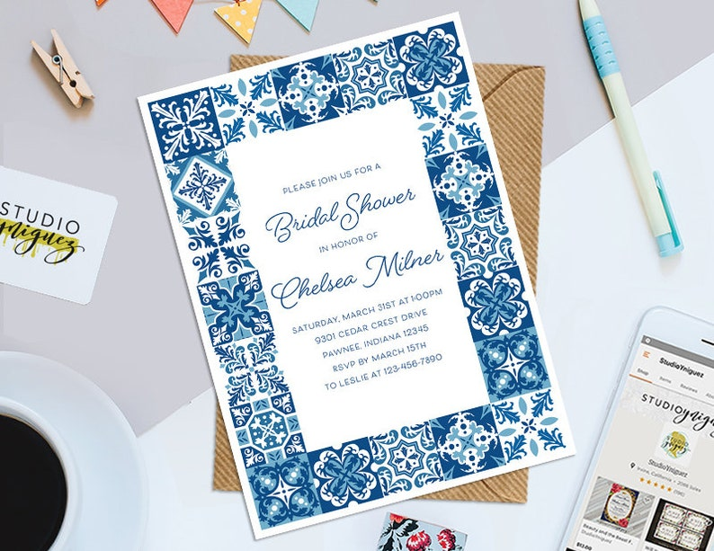 Azulejo Tile Bridal Shower Printable 5 x 7 image 0