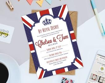 "Royal British Baby Shower Invitation, By Royal Decree Baby Shower Printable 5"" x 7""  Invitation, Custom British Baby Shower Printable Invite"