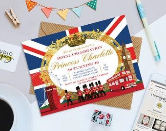 "Royal British Birthday Invitation, London Birthday Printable 7"" x 5""  Invitation, British Bridal Shower Printable Invite, Digital File"
