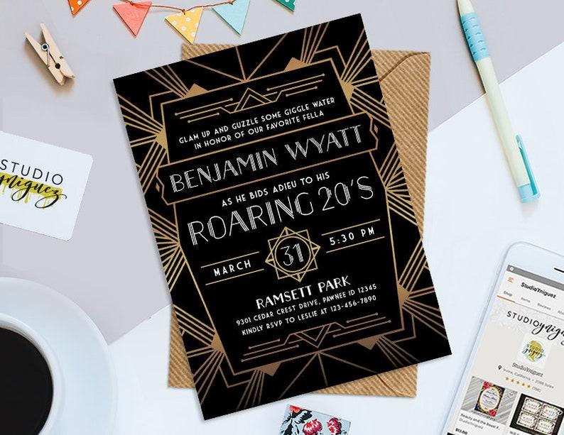 Art Deco Roarin Twenties Theme Birthday Party Printable image 0
