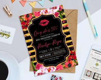 "50th Printable  5"" x 7"" Birthday Invitation, Fiftieth Floral Birthday Invitation, Fiftieth Birthday Invitation, Digital File Only"