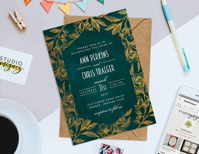 Green Gold Foil Floral Wedding Invitation Design Printable image 0