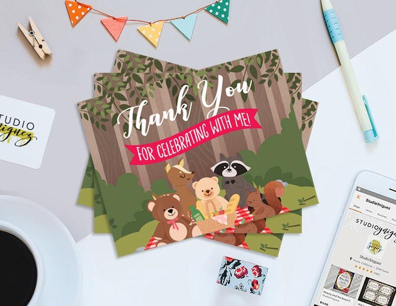 Teddy Bear Picnic Printable Thank You Cards Teddy Bear Picnic image 0