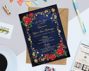 """Beauty and the Beast Fairy Tale Birthday Printable 5"""" x 7"""" Invitation, Red Roses Gold Frame Birthday Invitation, School Dance Prom Invite"""