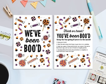 Halloween You've Been Boo'd Printable, We've Been Boo'd Printable, Instructions and Sign, Printable Halloween Game, Digital File Only