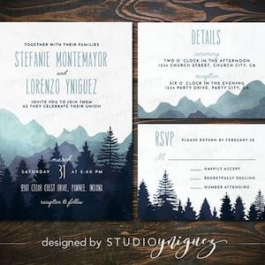 Lakeside Wedding Printable Invitation Suite Great Outdoors Wedding Printable Invitation Set Digital Wedding Invitation Suite