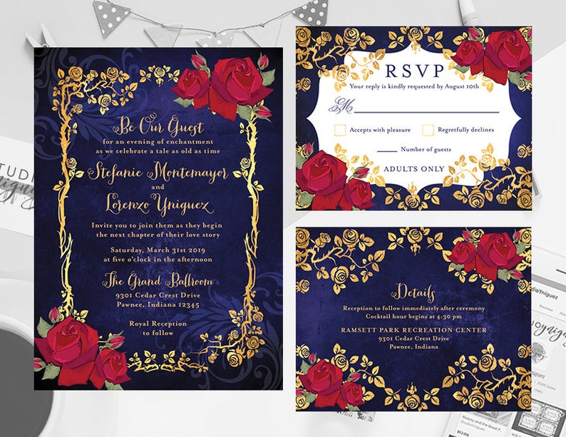 Beauty and the Beast Fairy Tale Printable Invitation Set with image 0