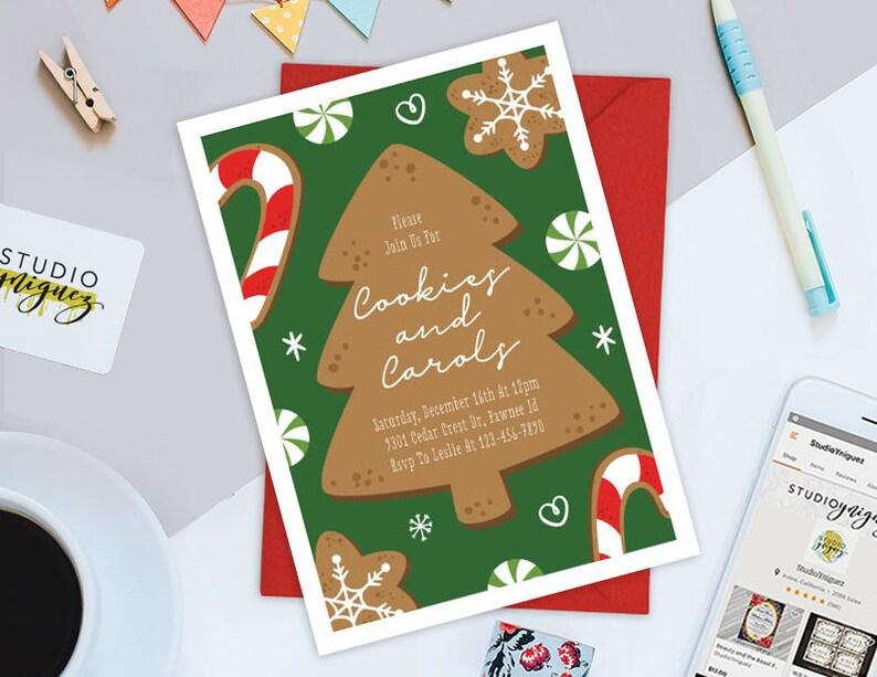 Cookies and Carols Printable 5 x 7 Invitation image 0
