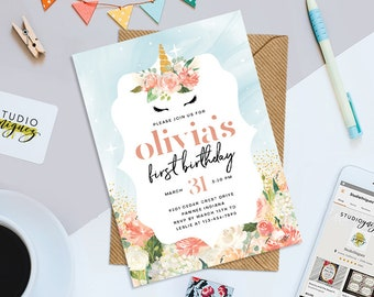 "Unicorn Printable 5"" x 7"" Birthday Invitation, Unicorn Birthday Invitation, Floral Unicorn Invitation, Unicorn Watercolor Flowers Invitation"